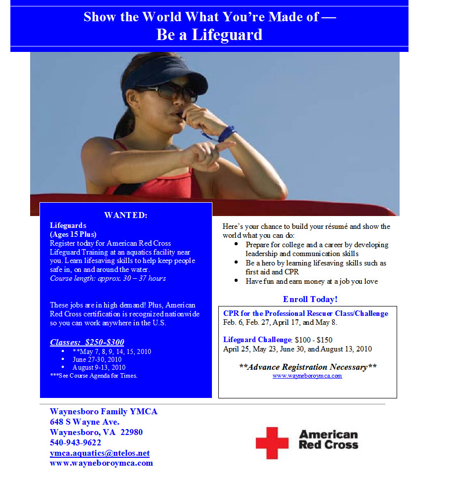 Y offering lifeguard certification classes waynesboro family ymca y offering lifeguard certification classes cpraed xflitez Image collections