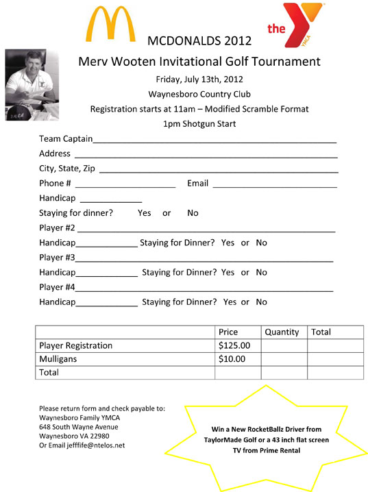 McDonaldu0027s/Wooten Golf Tourney Registration Form
